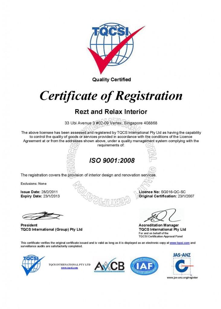 Certificates 05 Rezt Relax Interior Design Singaporerezt Relax Interior Design Singapore